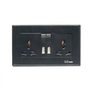 Ổ cắm điện 3 chấu đôi có công tắc và 2 cổng sạc USB LG tech