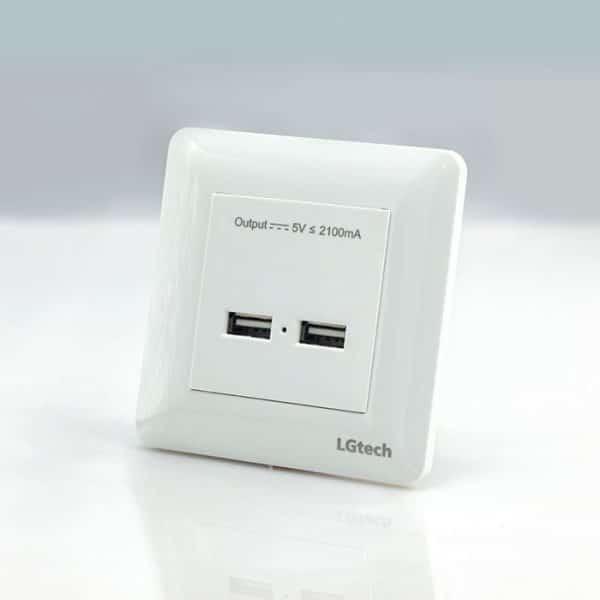Ổ cắm usb âm tường hỗ trợ 2 USB | LG-BS2U-01WP
