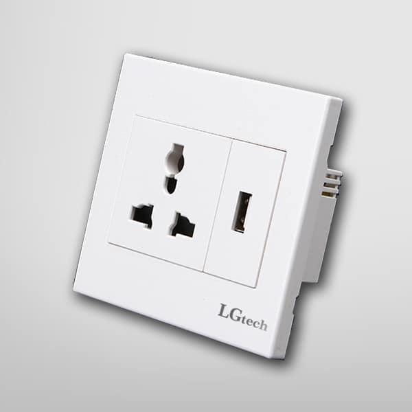 Ổ cắm âm tường dạng module 1 cổng USB | LG-MD1P1U-01WP