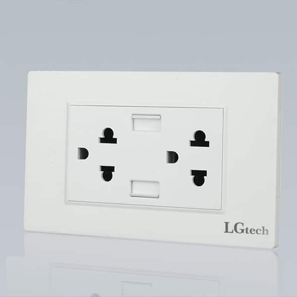 Ổ điện gắn tường mặt đôi có cổng USB | LG-BS2P2U-02WP