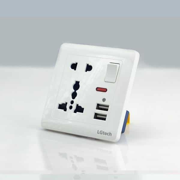 Ổ cắm điện có cổng USB chuẩn vuông cao cấp LG tech
