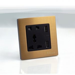 Ổ cắm điện 3 chấu vuông có cổng USB chất liệu kim loại cao cấp