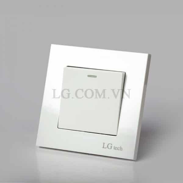 Công tắc điện đơn mặt vuông nhựa trắng LG tech