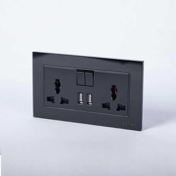 Ổ cắm điện đôi có cổng USB, công tắc mặt kính cường lực chất lượng cao