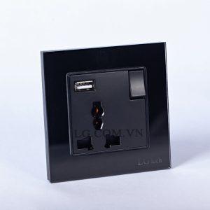 Ổ điện đơn có 1 cổng USB và công tắc ngắt mạch an toàn mặt kính cường lực