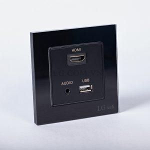Ổ cắm cổng HDMI, USB và Audio 3.5m mặt kính cường lưc sang trọng bền bỉ
